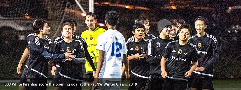 Trent scores the opening goal at the PacNW Winter Classic 2019.